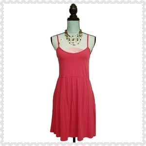 5 More Minutes Spaghetti Fit & Flare Pink Dress L